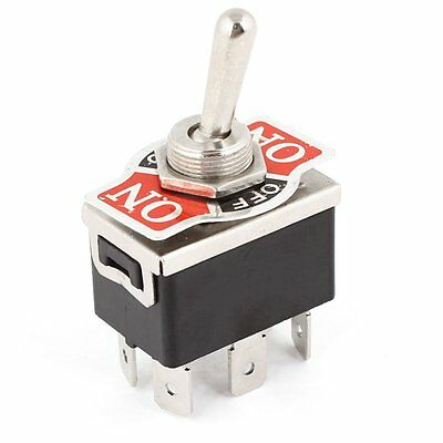 AC 250V/10A 125V/15A DPDT 3 Position ON/OFF/ON 6 Pins Toggle Switch Black+S M5Y8