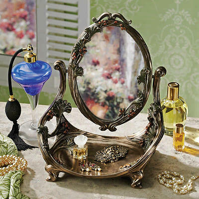Art Nouveau Style French Decor Bronze Finish Vanity Mirror with Tray Stand