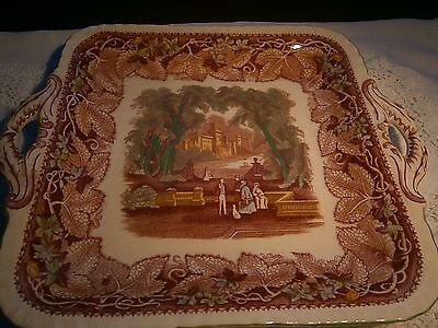 Vintage Masons  Ironstone 2 Handled Cake Plate in Vista Polychrome Painted