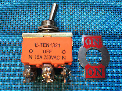 TOGGLE SWITCH DPDT 6 PIN 12mm ON  / ON  2 POSITION AC / DC 15A @ 250V