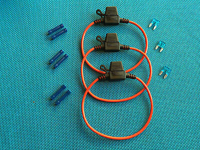 Daier Mini Atm Inline  Fuse Holder Kit 15A Lot Of 3 W/ Covers Fuses & Connectors