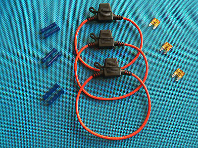 Daier Mini Atm Inline  Fuse Holder Kit  5A Lot Of 3 W/ Covers Fuses & Connectors