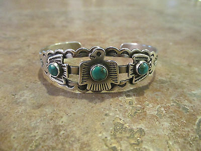 PERFECT OLD Fred Harvey Navajo Sterling Silver Turquoise THUNDERBIRD Bracelet