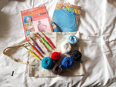 ChildrensCrochet starter Kit 6 hooks 2 books how to crochet  on CD100 grams yarn