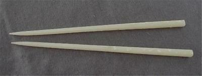 """Vintage Pair of Japanese 9"""" Lucite Cream Chopsticks With Abalone Inlay"""