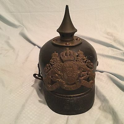 Antique Imperial WWI Bavarian Pickelhaube Spiked Helmet