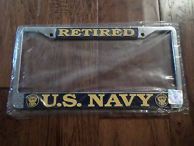 U.s Military Navy Retired Metal License Plate Frame New Sealed