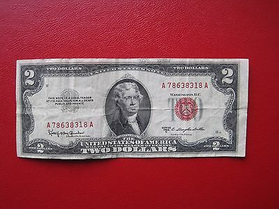 "2 Dollar 1953 C  ""United States Note""  Red Seal"