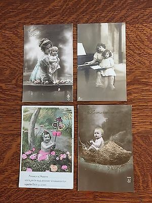 Vintage Postcard Real Photo 1913 (4) MOTHER & BABIES