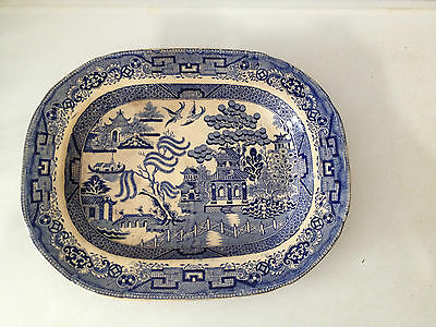 Very ealry Staffordshire Warranted, Large  Blue Willow Platter