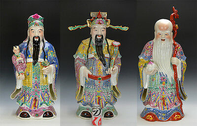 Big Set of 3 Chinese Famille Rose Longevity Porcelain 3 Star Figure Statue