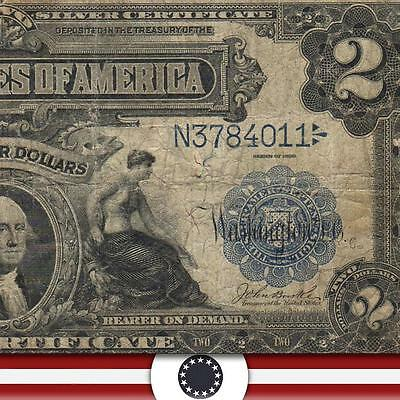 1899 $2 Two Dollar Silver Certificate Note MINI PORTHOLE Fr 256   N3784011