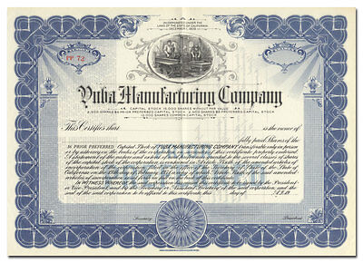 Yuba Manufacturing Company Stock Certificate (California Dredge Maker)