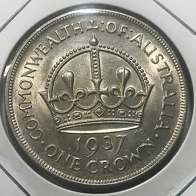 Australia 1937 Silver Crown Almost Uncirculated Beauty