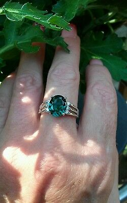 Oval Cut Teal Green Flourite Solitaire W/Accents Ring, Sterling silver, size 7
