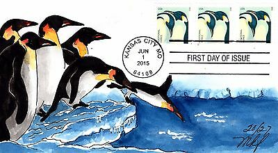 Hand-painted 22cent Penguins FDC by Mary Kay Fisher