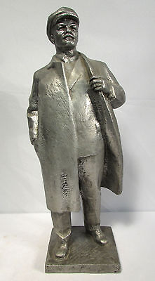 Soviet Russian Socialist Lenin Full Figure Statue Gray Cast Metal 14 1/2 Inches