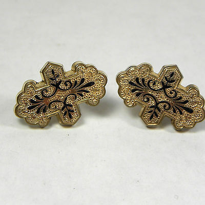 VICTORIAN TAILLE D'EPARGNE Black Enamel Earrings Rolled Gold 12K GF
