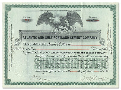 Atlantic and Gulf Portland Cement Company Stock Certificate (Ragland, Alabama)
