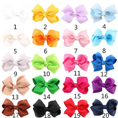 20Pcs Baby Kid Children Girl Bow Ribbon Alligator Hair Clip Hairpin Accessory US