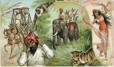 Arbuckle Coffee Trade Card India Elephant Hunters Dervish Monkey Dancer