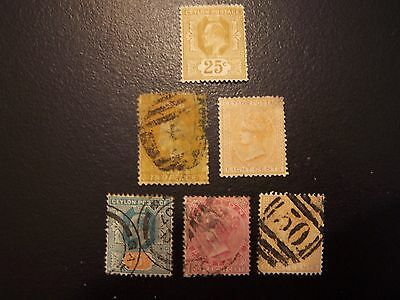7 Ceylon Better Used And Mint Stamps