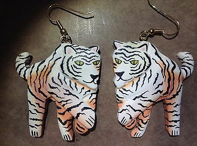 White Tiger Earrings Jewelry Cat Animal Bengal Wild Wildlife Art Pierced 3d Head