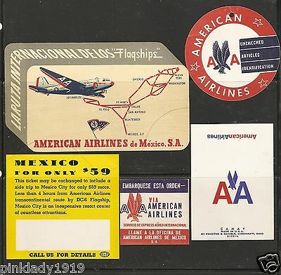 AMERICAN AIRLINES  MEXICO  CAMAY SOAP, baggage  LABEL   BAG TAG = 5 PIECES