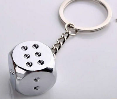Polished Chrome Silver Smooth Surface Dice Key Chain Ring Keychain Keyring #8