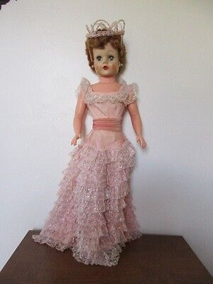 """Large Vintage Doll - Princess in Pink Gown - 28"""" Tall - Rubber Body - 251 - A-E"""