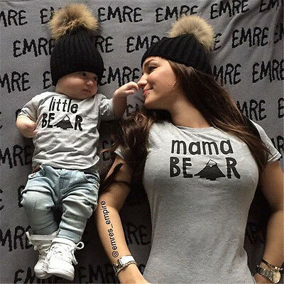 Couple T-Shirt Women Mama Baby Kid Bear Matching Shirt Family Clothes Tee Top US