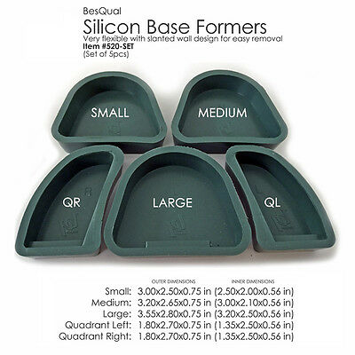 Silicone Base Former Dental Lab Plaster Model Mold [Set of 5] Green - Usa Seller