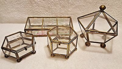 Lot of 4 Vintage Brass & Etched Glass Miniature Trinket Boxes  Assorted sizes