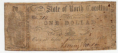 Csa Confederate Note Currency October 1861 North Carolina In Circulation Signed