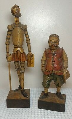 Vintage Ouro Carved Wood Sculpture Don Quixote Sancho Panza Mid Century Modern
