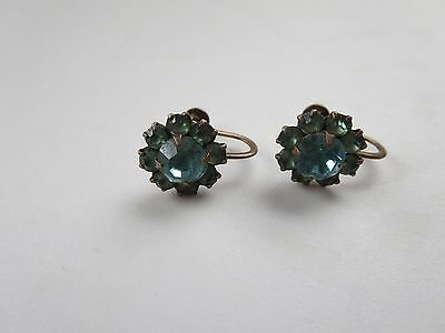 Sterling Silver R.L. Griffith Blue Green Stone Screw On Earrings Signed