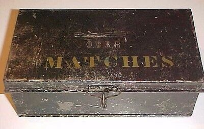 Old Painted Tin Tole Ware Match Box O.c.r.r. Old Colony Railroad Late 1800's