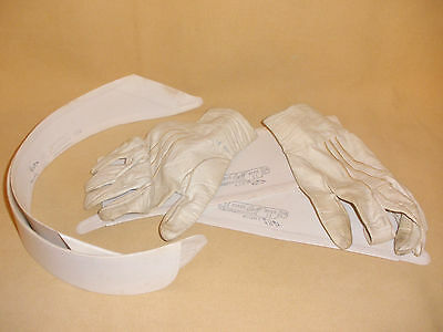 Lot of Antique Men's Formal Cardboard Collars, Cuffs, & White Leather Gloves