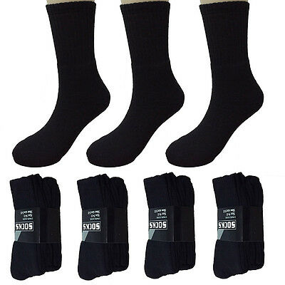 Lot 6 Pairs Fashion Black Mens Athletic Crew Socks Sports Casual Size 10-13 New