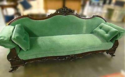 1950 Antique Classical Mahogany Green American Sofa Chaise Loveseat Bed 19th C