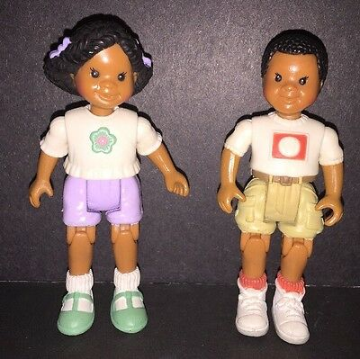 Fisher Price Loving Family Dollhouse Family AA African American Boy & Girl 1998