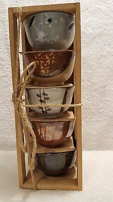 JAPANESE TEA CEREMONY / CHAWAN (TEA BOWL) / GLAZE PAINT BOWL / DISH 5 pcs.