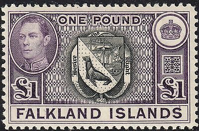 Falkland Islands 1938 KGVI £1 Arms of the Falkland Islands MH