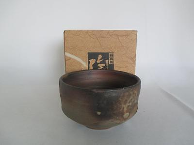 Japanese Bizen ware tea bowl w/sign; very nice glaze/ 6762