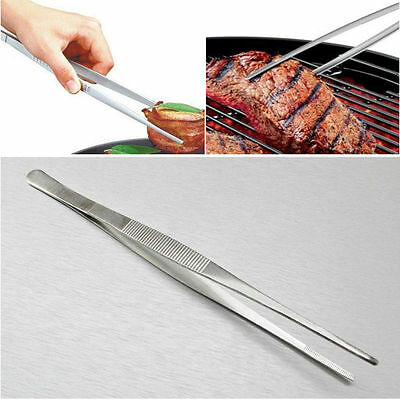 16-30cm Silver Stainless Steel Long Food Tongs Straight Tweezers Kitchen Tool