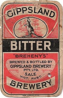 Rare Gippsland Brewery, Sale, Victoria, Brewery Bottle Beer Label, Kangaroo