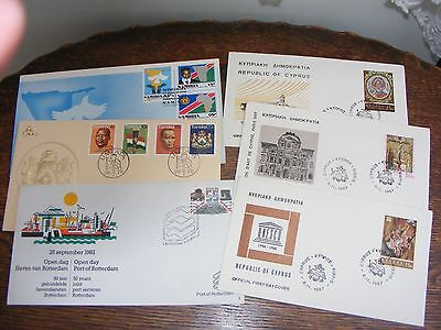 6 Assorted  First Day Covers  Cypress X 3, Holland, Transkei,namibia       (319)