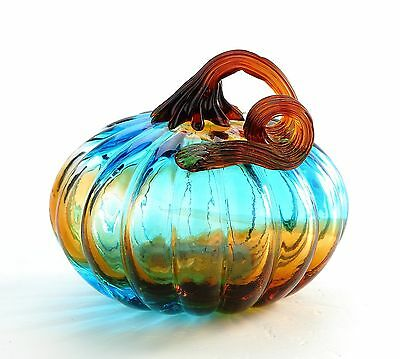 "New 5"" Hand Blown Art Glass Pumpkin Sculpture Figurine Fall Blue Amber"