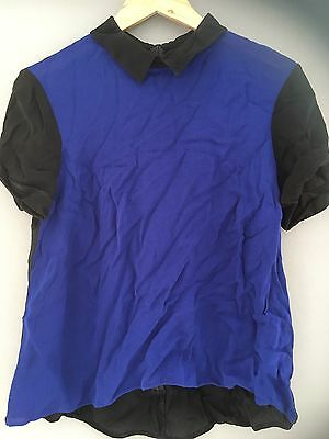 Blue And Black Cue Blouse Size 14