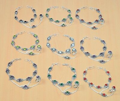 Wholesale 9Pc 925 Silver Plated Iolite Mix Gemstone Bracelet-Ring Hathphool Lot